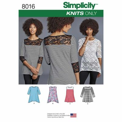 Simplicity Sewing Pattern 8016 Misses' Knit Tops with Lace Variations