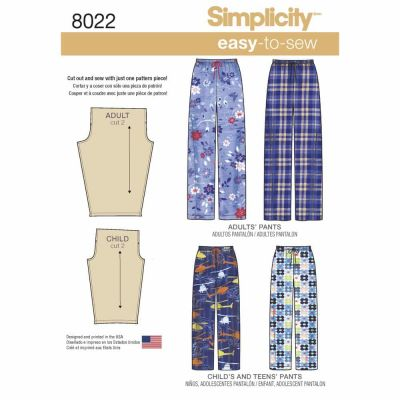 Simplicity Sewing Pattern 8022 Child's, Teens' and Adults Trousers