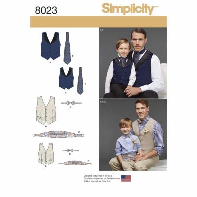 Simplicity Sewing Pattern 8023 Boys' and Men's Vest, Bow-tie, Cummerbund and Ascot