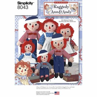 Simplicity Sewing Pattern 8043 Raggedy Ann & Andy Dolls