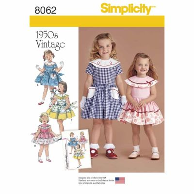 Simplicity Sewing Pattern 8062 Vintage 1950's Dress for Toddler and Child
