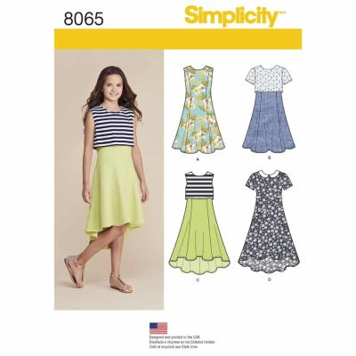 Simplicity Sewing Pattern 8065 Girls' and Girls' Plus Dress or Popover Dress