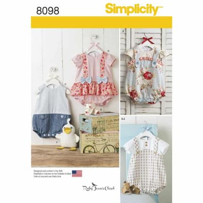 Simplicity Sewing Pattern 8098 Babies' Rompers, Sandals, and Stuffed Duck