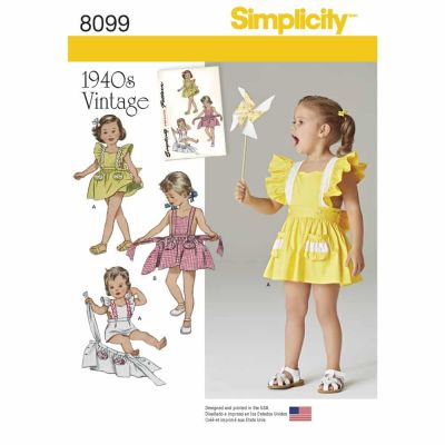 Simplicity Sewing Pattern 8099 Toddlers' Romper and Button-on skirt