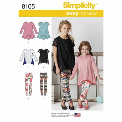Simplicity Sewing Pattern 8105 Child's and Girls' Knit Tunics and Leggings