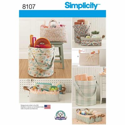 Simplicity Sewing Pattern 8107 Bucket, Basket & Tote Organizers