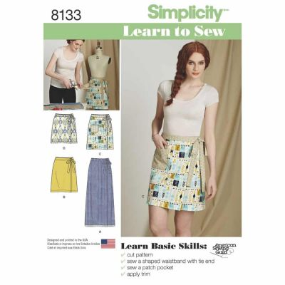 Simplicity Sewing Pattern 8133 Simplicity Pattern 8133 Misses' Learn to Sew Wrap Skirts