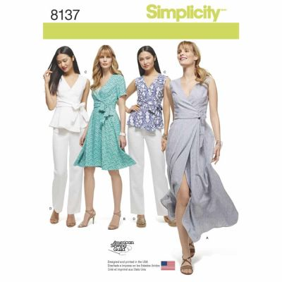 Simplicity Sewing Pattern 8137 Simplicity Pattern 8137 Misses' and Plus Size Wrap Dresses, Top, and Trousers