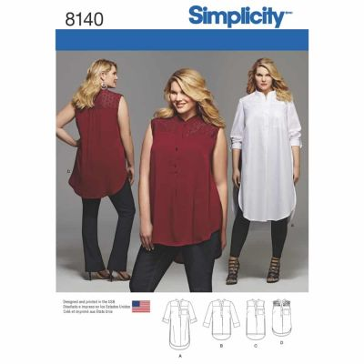 Simplicity Sewing Pattern 8140 Simplicity Pattern 8140 Plus Size Shirt with Length and Sleeve Variations