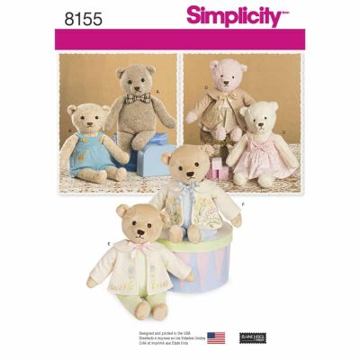 Simplicity Sewing Pattern 8155 Simplicity Pattern 8155 Stuffed Bears with Clothes