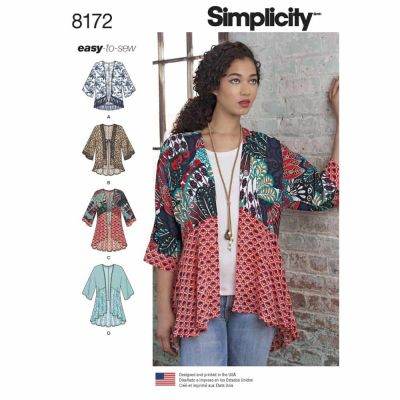 Simplicity Sewing Pattern 8172 Pattern 8172 Misses' Fashion Kimonos with Length, Fabric and Trim Variations