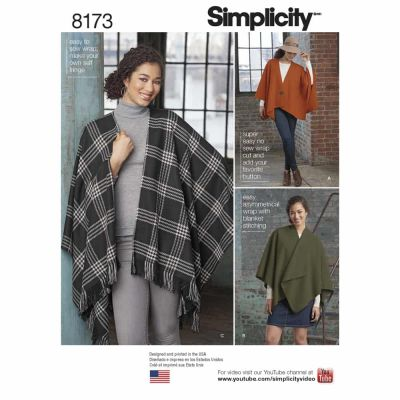 Simplicity Sewing Pattern 8173 Pattern 8173 Misses' Fleece Poncho Wraps