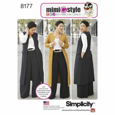 Simplicity Sewing Pattern 8177 Pattern 8177 Mimi G Style Trouser, Coat or Vest, and Knit Top for Miss and Plus Sizes