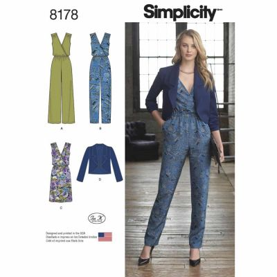 Simplicity Sewing Pattern 8178 Pattern 8178 Misses' Jumpsuit with two leg widths, Dress and Jacket