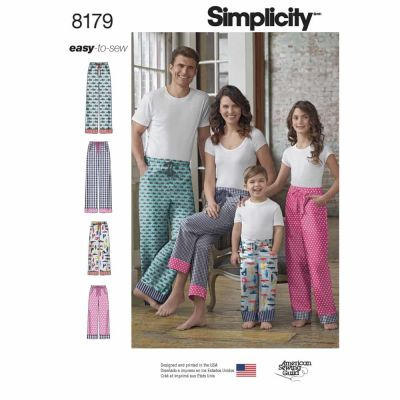 Simplicity Sewing Pattern 8179 Pattern  8179 Child, Teen and Adult Lounge Pant