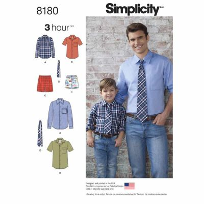Simplicity Sewing Pattern 8180 Pattern 8180 Boys' and Men's Shirt, Boxer Shorts and Tie