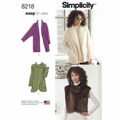 Simplicity Sewing Pattern 8218 Simplicity Pattern 8218 Misses' Easy-to-Sew Jackets and Vest