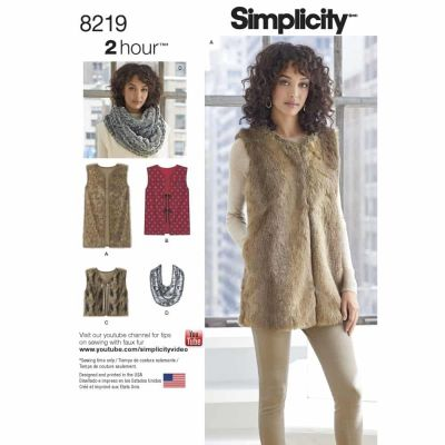 Simplicity Sewing Pattern 8219 Simplicity Pattern 8219 Misses' Line Vest in Three Lengths