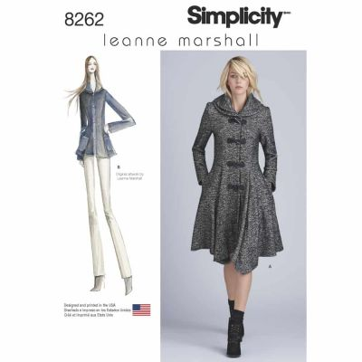 Simplicity Sewing Pattern 8262 Simplicity Pattern 8262 Leanne Marshall Coat or Jacket for Misses
