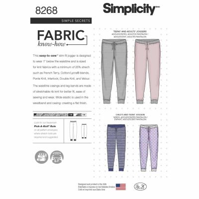 Simplicity Sewing Pattern 8268 Simplicity Pattern 8268 Child's, Teen's and Adult's Slim Fit Knit Jogger