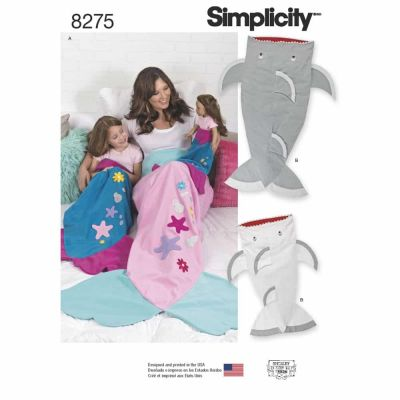 "Simplicity Sewing Pattern 8275 Simplicity Pattern 8275 Novelty Blankets for Child, Adult and 18"" Doll"