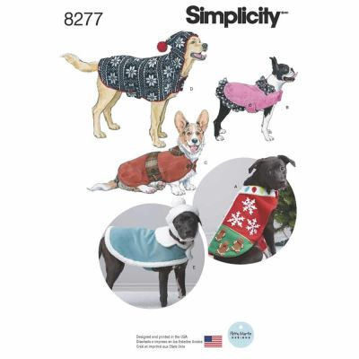 Simplicity Sewing Pattern 8277 Simplicity Pattern 8277 Fleece Dog Coats and Hats in Three Sizes