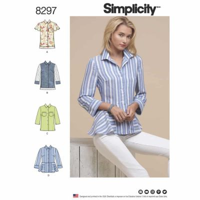 Simplicity Sewing Pattern 8297 Simplicity Pattern 8297 Misses Shirts