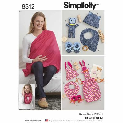 Simplicity Sewing Pattern 8312 Simplicity Pattern 8312 Knit Baby Gifts and Nursing Shawl