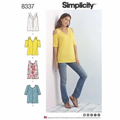 Simplicity Sewing Pattern 8337 Simplicity Pattern 8337 Misses' Knit Tops with Bodice and Sleeve Variations