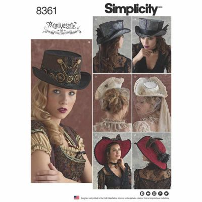 "Simplicity Sewing Pattern 8361 Simplicity Pattern 8361 Hats in Three Sizes: S (21""), M (22""), L (23"")"