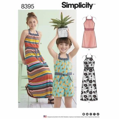 Simplicity Sewing Pattern 8395 Simplicity Pattern 8395 Child's & Girls' Halter Dress or Romper Each in Two Lengths