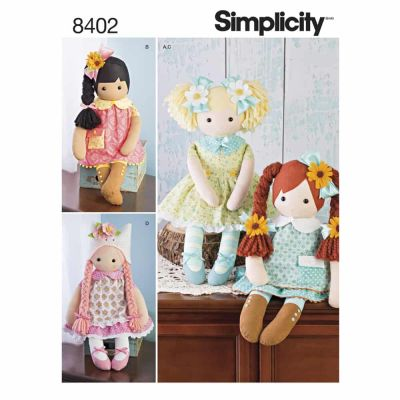 "Simplicity Sewing Pattern 8402 Simplicity Pattern 8402 23"" Stuffed Dolls With Clothes"