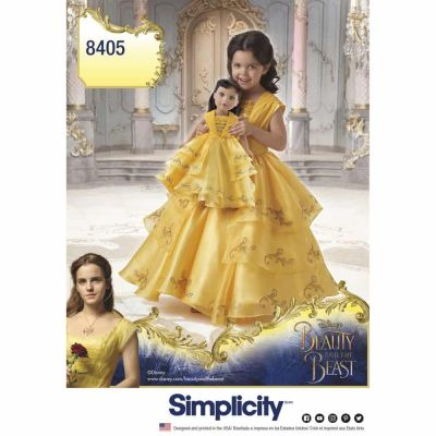 """Simplicity Sewing Pattern 8405 Simplicity Pattern 8405 Disney Beauty and the Beast Costume for Child and 18"""" Doll"""
