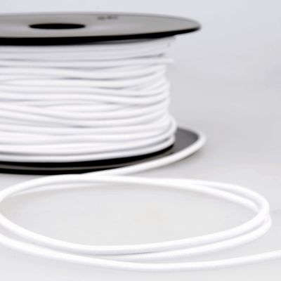 Round Rayon Elastic Cord - 3mm Wide - White