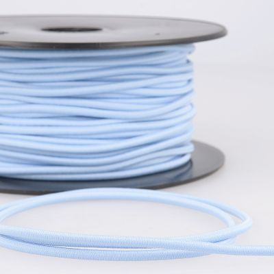 Round Rayon Elastic Cord - 3mm Wide - Light Blue