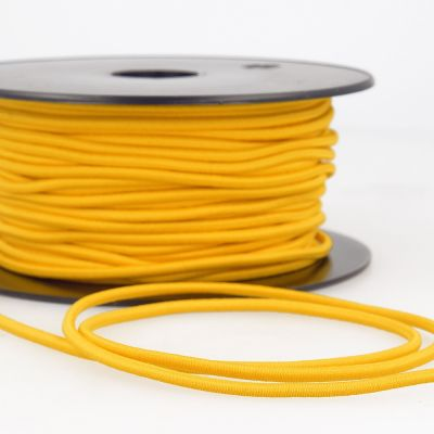 Remnant - Round Rayon Elastic Cord - 3mm Wide - Golden Yellow - 1m LENGTH