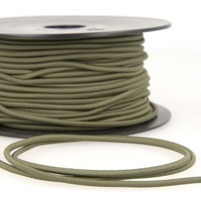 Round Rayon Elastic Cord - 3mm Wide - Khaki