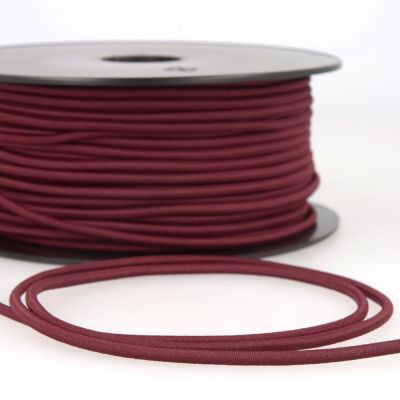 Remnant - Round Rayon Elastic Cord - 3mm Wide - Burgundy - 1m LENGTH