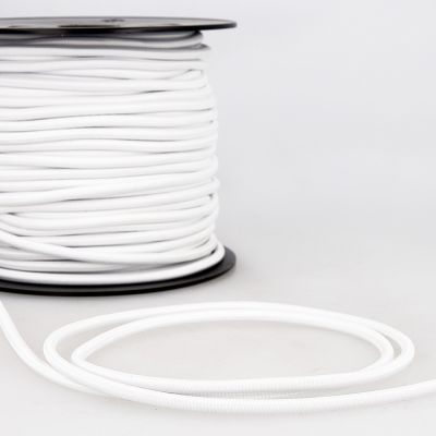 Round Polyester Elastic Cord - 5mm Wide - White