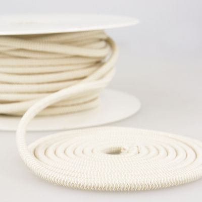 Round Two Tone Elastic Cord - 5mm Wide - Beige/White