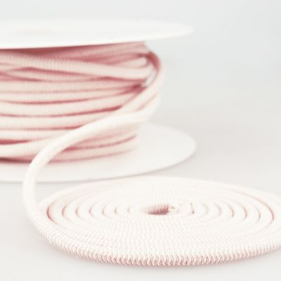 Round Two Tone Elastic Cord - 5mm Wide - Pink/White