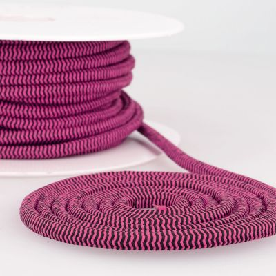 Round Two Tone Elastic Cord - 5mm Wide - Raspberry/Black