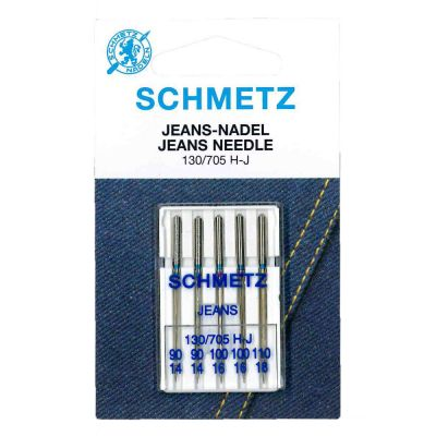 Schmetz Jeans Machine Needles Assorted Sizes 90 - 100 5 Piece Card