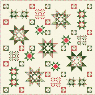 Makower Yuletide Christmas Quilt, Runner and Cushion - Free Download