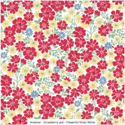 Andover - Strawberry Jam - Flowerful Vines White