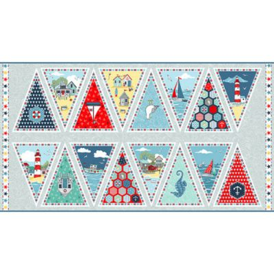 Remnant - Makower Sea Breeze Bunting panel - 58 x 110cm - Miscut