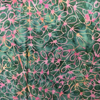 Sew Simple Batik Batik Leaf Outline Pink Cut Length