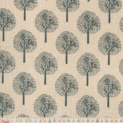 Cotton Fabric - Linen Look Canvas - Trees On Natural