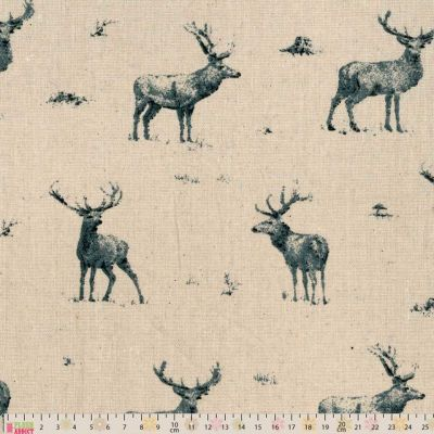 Cotton Fabric - Linen Look Canvas - Stags On Natural
