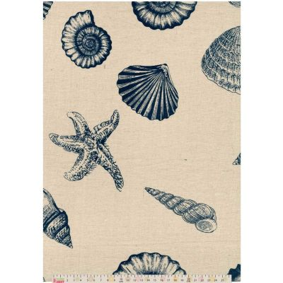 Cotton Fabric - Linen Look Canvas - Seashells On Natural